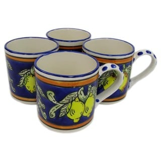 Set of 4 Le Souk Ceramique Citronique Design Stoneware Coffee Mugs (Tunisia)