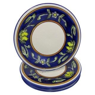 Handmade Set of 4 Le Souk Ceramique 'Citronique' Stoneware Dinner Plates (Tunisia)