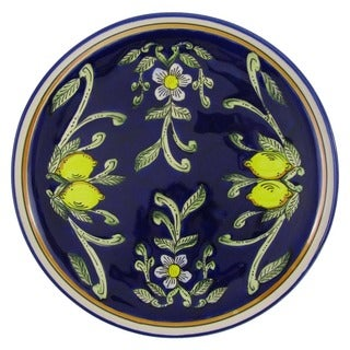Le Souk Ceramique Citronique Design Round Stoneware Platter (Tunisia)