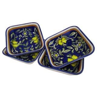 Set of 4 Le Souk Ceramique Citronique Design Square Stoneware Pasta/Salad Bowls (Tunisia)