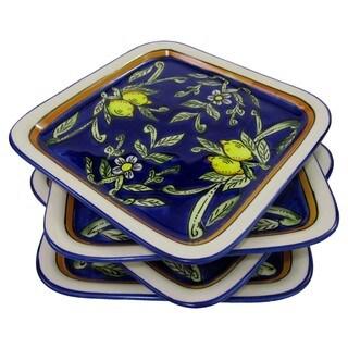 Handmade Set of 4 Le Souk Ceramique Citronique Design Square Stoneware Plates (Tunisia)