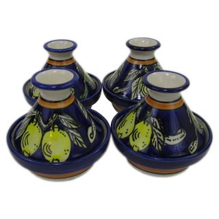 Handmade Set of 4 Le Souk Ceramique Citronique Design Mini Stoneware Tagines (Tunisia)