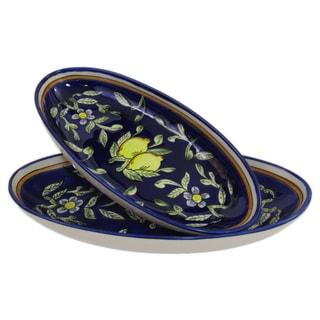 Set of 2 Le Souk Ceramique Citronique Design Large Stoneware Oval Platters (Tunisia)