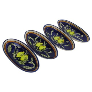 Set of 4 Le Souk Ceramique Citronique Small Stoneware Oval Platters (Tunisia)
