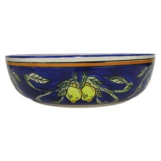 Le Souk Ceramique 'Citronique' Wide Stoneware Salad/ Pasta Bowl