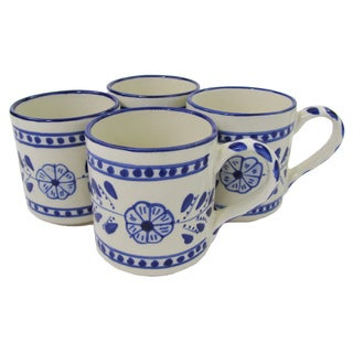 Handmade Set of 4 Le Souk Ceramique Azoura Stoneware Coffee Mugs (Tunisia)