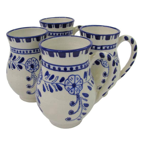 Handmade Set of 4 Le Souk Ceramique Azoura Large Stoneware Mugs (Tunisia)