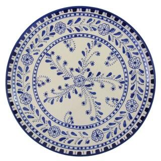 Handmade Le Souk Ceramique Azoura Design Round Stoneware Platter (Tunisia)