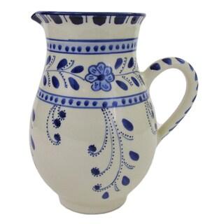 Handmade Le Souk Ceramique Azoura Large Stoneware Pitcher (Tunisia)