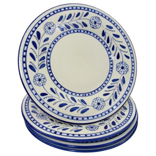 Set of 4 Le Souk Ceramique Azoura Stoneware Dinner Plates (Tunisia)