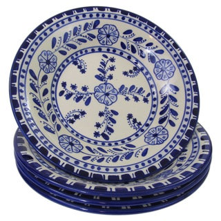Set of 4 Le Souk Ceramique Azoura Design Stoneware Pasta/Salad Bowls (Tunisia)