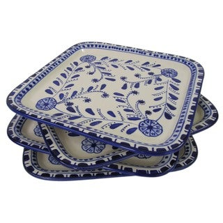 Set of 4 Le Souk Ceramique Azoura Square Stoneware Plates  (Tunisia)