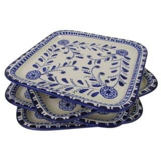Set of 4 Le Souk Ceramique Azoura Square Stoneware Plates (Tunisia)|https://ak1.ostkcdn.com/images/products/12650631/P19439587.jpg?impolicy=medium