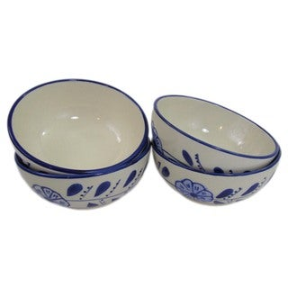 Handmade Set of 4 Le Souk Ceramique Azoura Stoneware Deep Sauce/ Ice Cream Bowls (Tunisia)