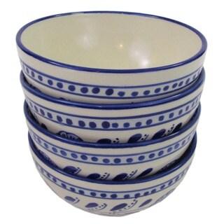 Set of 4 Le Souk Ceramique Azoura Design Stoneware Soup/Cereal Bowls (Tunisia)