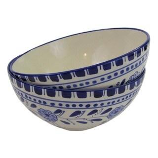 Set of 2 Le Souk Ceramique Azoura Medium Stoneware Deep Serve Bowls (Tunisia)