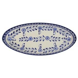Handmade Le Souk Ceramique Azoura Extra Large Stoneware Oval Platter (Tunisia)