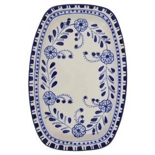 Le Souk Ceramique Azoura Design Rectangular Stoneware Platter (Tunisia)