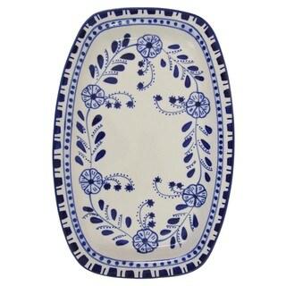 Handmade Le Souk Ceramique Azoura Design Rectangular Stoneware Platter (Tunisia)