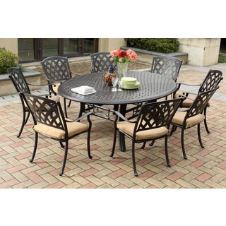 Darlee Ocean View Antique Bronze Cast Aluminum Round 9-piece Dining Set