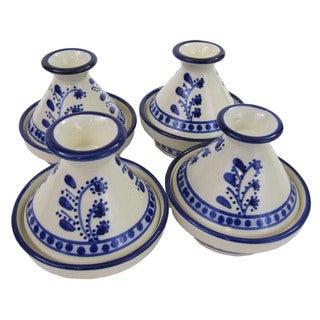 Set of 4 Le Souk Ceramique Azoura Mini Stoneware Tagines (Tunisia)