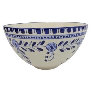 Handmade Le Souk Ceramique Azoura Deep Stoneware Salad Bowl (Tunisia)