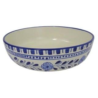 Le Souk Ceramique Azoura Design Wide Stoneware Salad/Pasta Bowl (Tunisia)