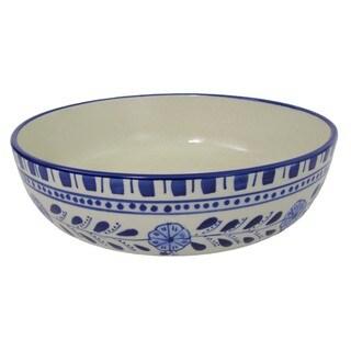 Handmade Le Souk Ceramique Azoura Design Wide Stoneware Salad/Pasta Bowl (Tunisia)