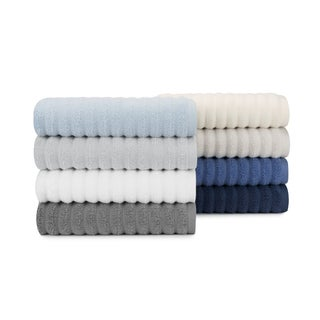 Extreme Zero Twist High Low Rib Cotton 6-piece Bath Towel Set, Bath Towels Hand, Towels and Washcloths by Briarwood Home