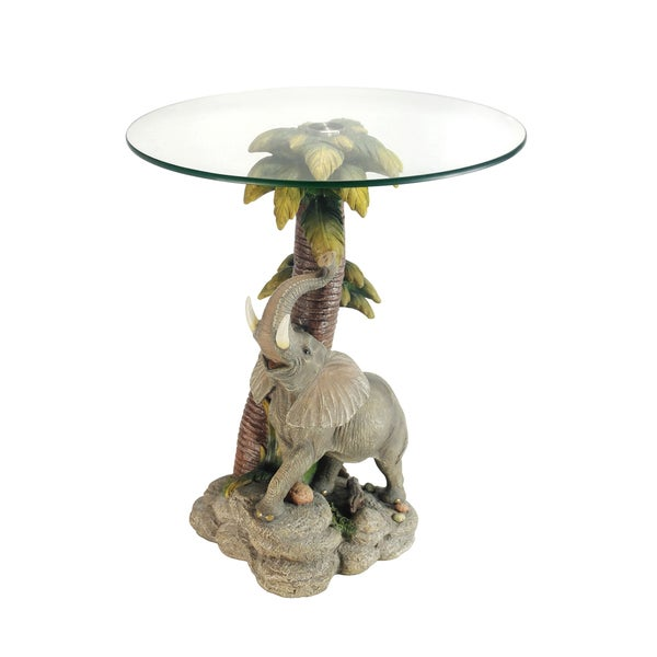 Resin/Glass 24 Inch Elephant End Table