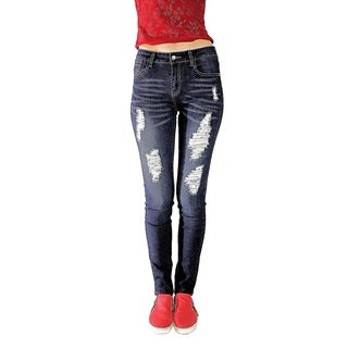 Juniors' Stretch Skinny Jeans with Rips and Tears
