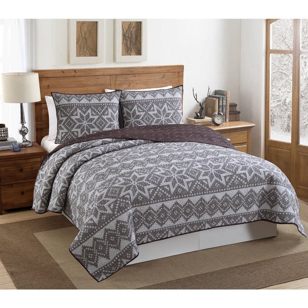 VCNY Fair Isle 3 Piece Quilt Set - On Sale - Free Shipping Today ...