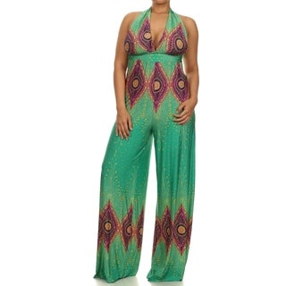 A Plus Style Apparel Emerald Green Polyester Halter Jumpsuit