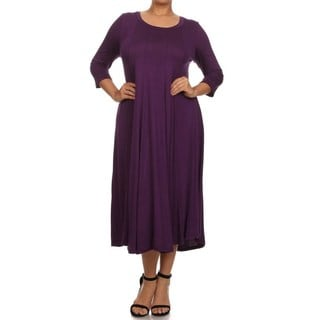 A PLUS STYLE PLEATED A LINE DRESS