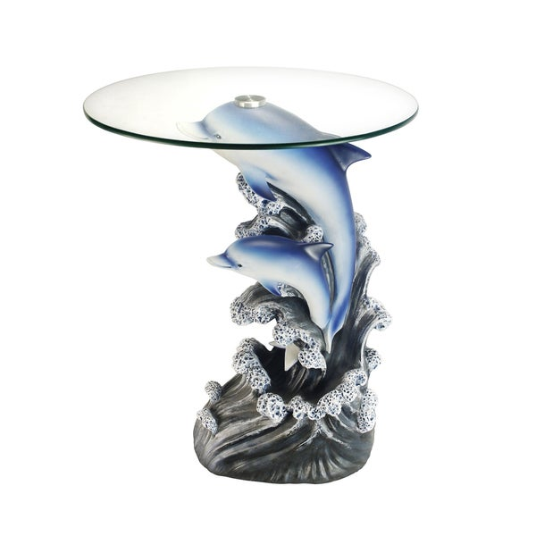 Shop Glass Top 24 Inch Dolphin End Table Free Shipping