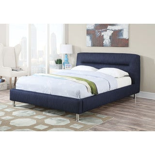 Adney Upholstered Eastern King Bed, Blue Denime