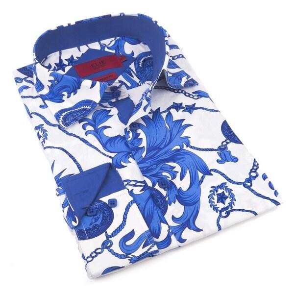 Elie Balleh Milano Italy Men's Navy Cotton Slim Fit Shirt