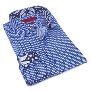 Elie Balleh Men's Milano Italy 2016-style Blue Cotton Slim-fit Shirt