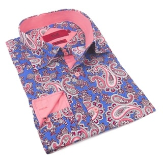 Elie Balleh Milano Italy Men's Paisley Cotton Slim Fit Shirt (Option: Yellow)
