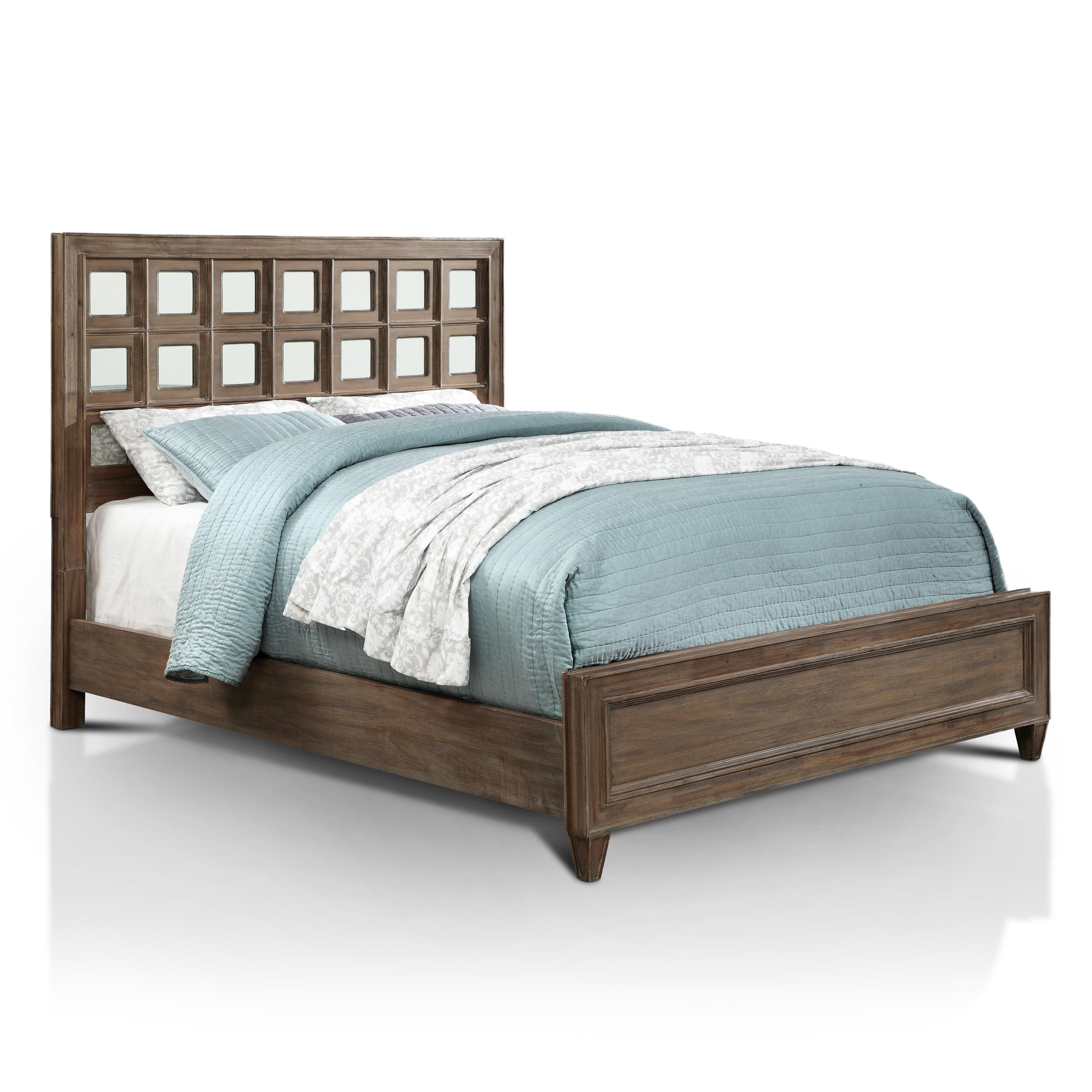 Furniture of America Alyssa Glam Mirrored Rustic Oak Bed ...