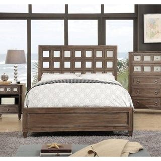 Furniture of America Alyssa Glam Mirrored Rustic Oak King-size Bed
