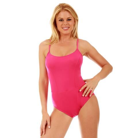 Women's InstantFigure Nylon/ Spandex One-piece Princess Seams Swimsuit