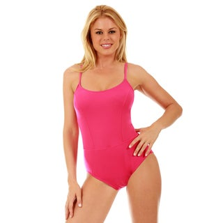 Women's InstantFigure Nylon/ Spandex One-piece Princess Seams Swimsuit