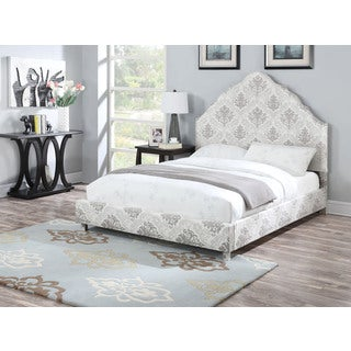 Clarisse Upholstered Eastern King Bed, Damask Pattern
