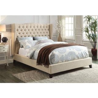 Faye Wingback Full Bed, Beige Linen