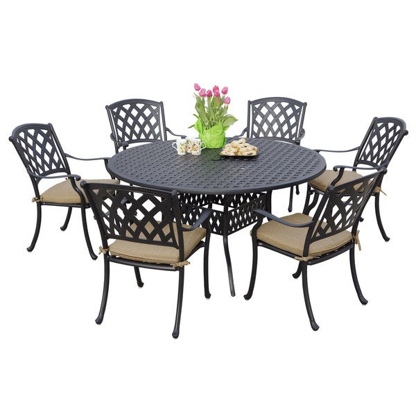 Shop Darlee Ocean View Antique Bronze Cast Aluminum Round Piece - 7 piece outdoor dining set round table