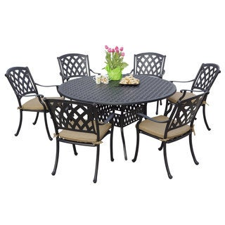 Darlee Ocean View Antique Bronze Cast Aluminum Round 7-piece Dining Set