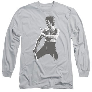 Bruce Lee/Chinese Characters Long Sleeve Adult T-Shirt 18/1 in Silver