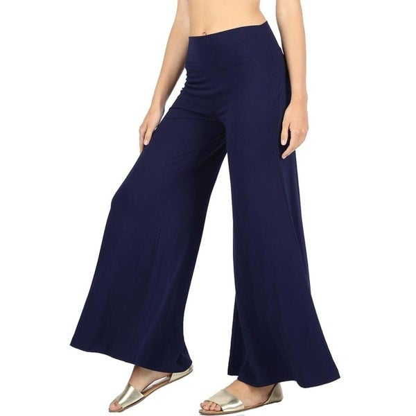 JED Women's Solid High-waist Wide-leg Super Stretch Knit Palazzo Pants