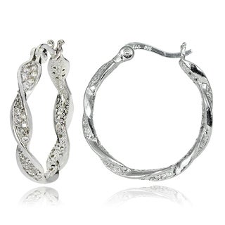 ICZ Stonez Sterling Silver Cubic Zirconia Twisted Round Hoop Earrings